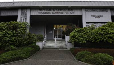 This Jan. 23, 2020, photo shows the National Archives on Sand Point, Wash., that has about a million boxes of generally unique, original source documents and public records.