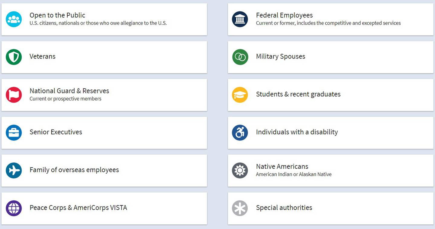Federal hiring path icons are listed on a blue background.